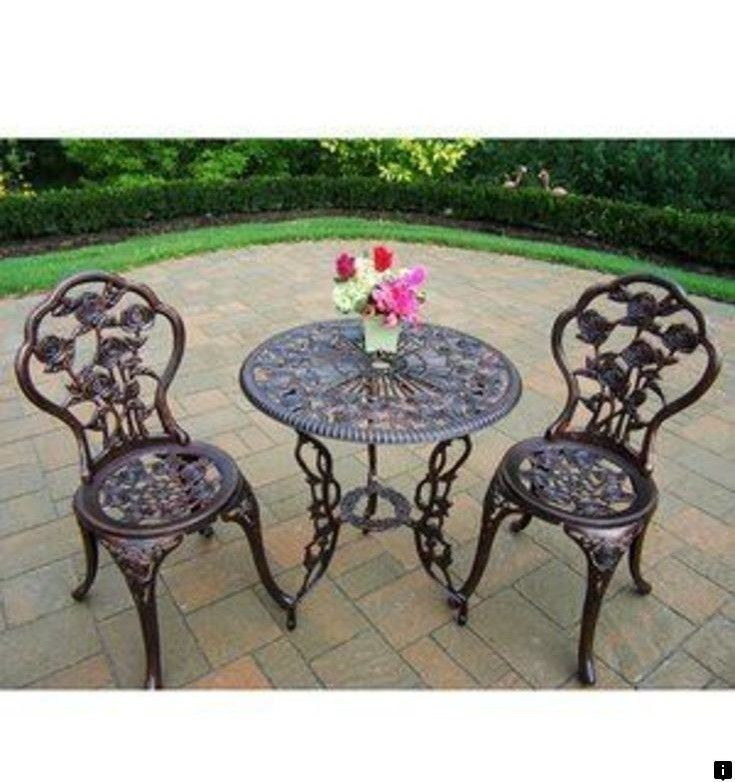Lovely Bistro Set Outdoor Patio Furniture 3 Piece Rose Pattern Brown