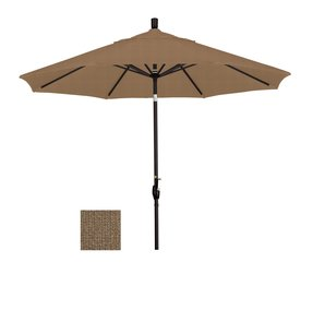 California Umbrella 11-Feet Sunbrella Fabric Fiberglass Rib Crank Lift Collar Tilt Aluminum Market Umbrella with Black Pole, Heather Beige