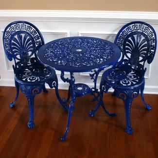 Chinoiserie blue vintage patio table and
