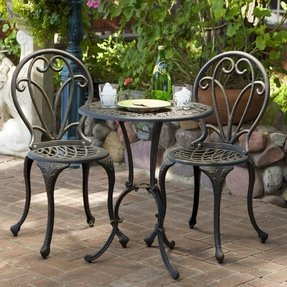 Christopher Knight Home Thomas Cast Aluminum Dark Gold 3 Piece Bistro Set