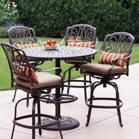 Darlee Elisabeth 4-person Cast Aluminum Patio Bar Set - Antique Bronze