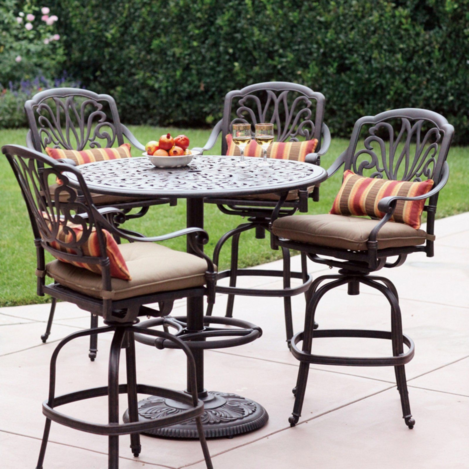Good Darlee Elisabeth 4 Person Cast Aluminum Patio Bar Set   Antique Bronze