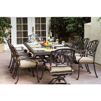 Darlee Elisabeth 8-person Cast Aluminum Patio Dining Set With Granite Top Table - Antique Bronze / Brown Granite Tile