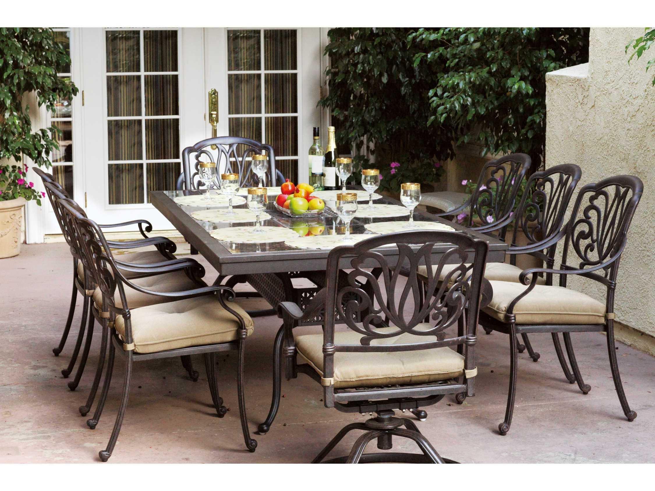 Darlee Elisabeth 8 Person Cast Aluminum Patio Dining Set With Granite Top  Table   Antique