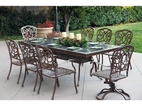 Darlee Florence 8-person Cast Aluminum Patio Dining Set With Granite Top Table - Mocha / Brown Granite Tile