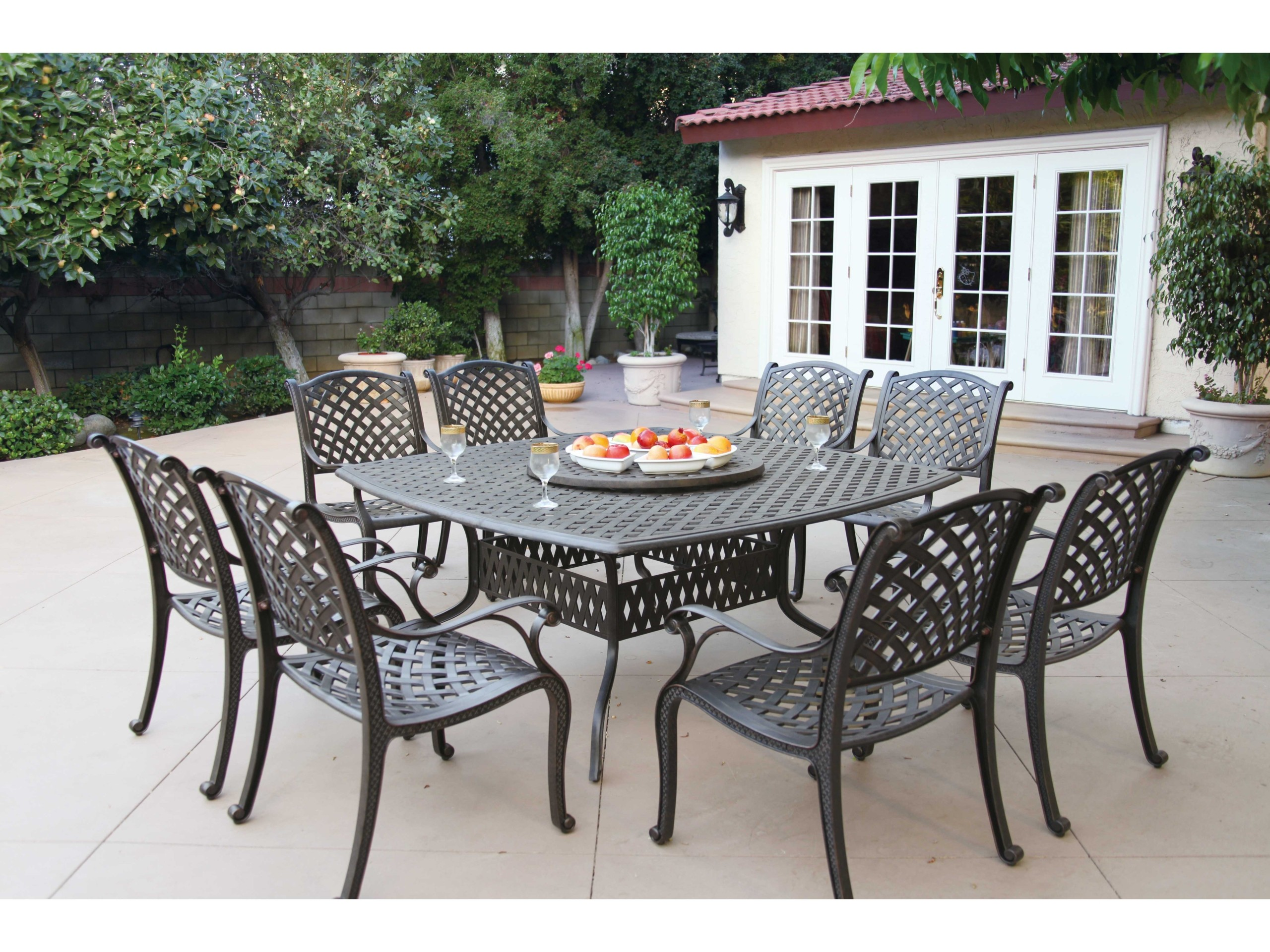 Darlee Nassau 8 Person Cast Aluminum Patio Dining Set With Lazy Susan    Antique Bronze
