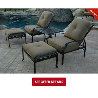 Elizabeth Outdoor Patio 5pc Adjustable Club Chairs Cast Aluminum