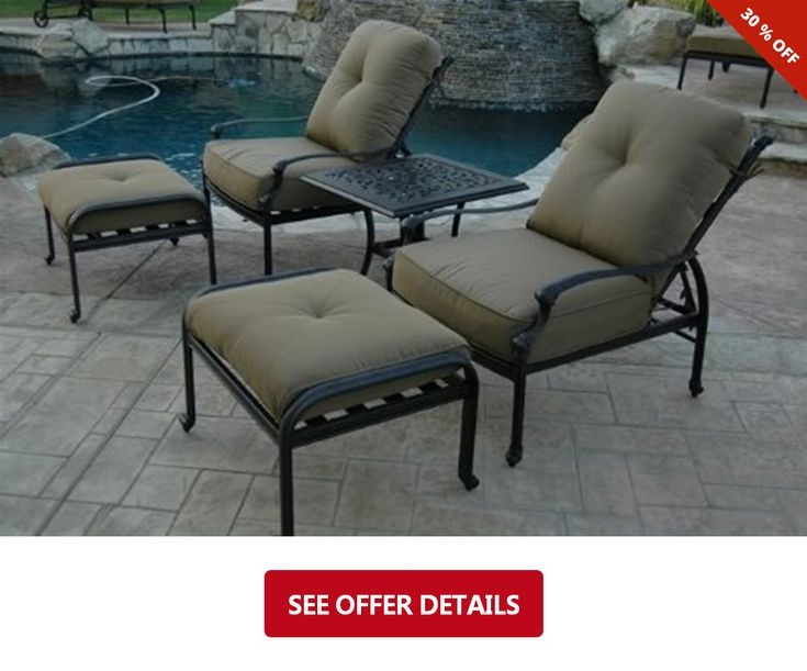 Elizabeth Outdoor Patio 5pc Adjustable Club Chairs Cast Aluminum
