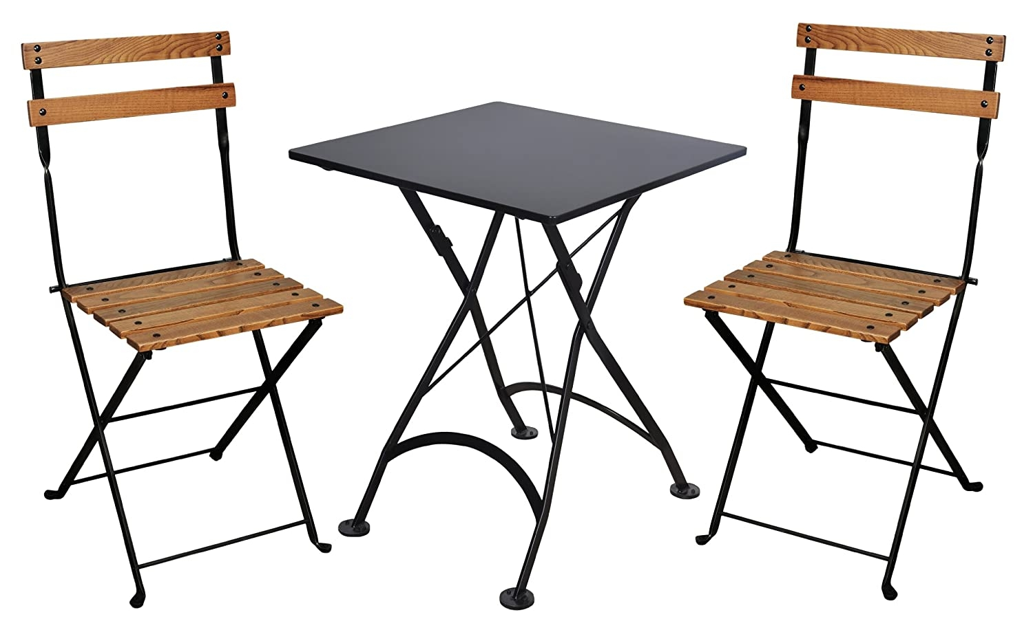 Furniture Designhouse 5503CW BK Handcrafted French Bistro European Cafe  Folding Side Chair With European Chestnut