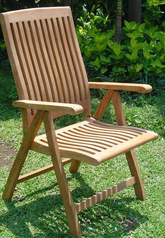 Grade A Teak Wood Luxurious Reclining Folding Arm / Captain Dining Chair  [Model: