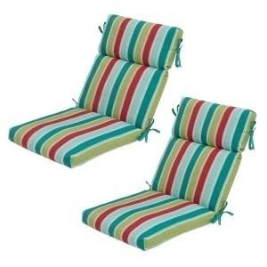 Hampton Bay Caroll Stripe High Back Outdoor Chair Cushion 2