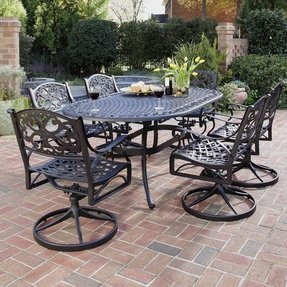 Home Styles 5554-335 Biscayne 7-Piece Outdoor Dining Set, Black Finish