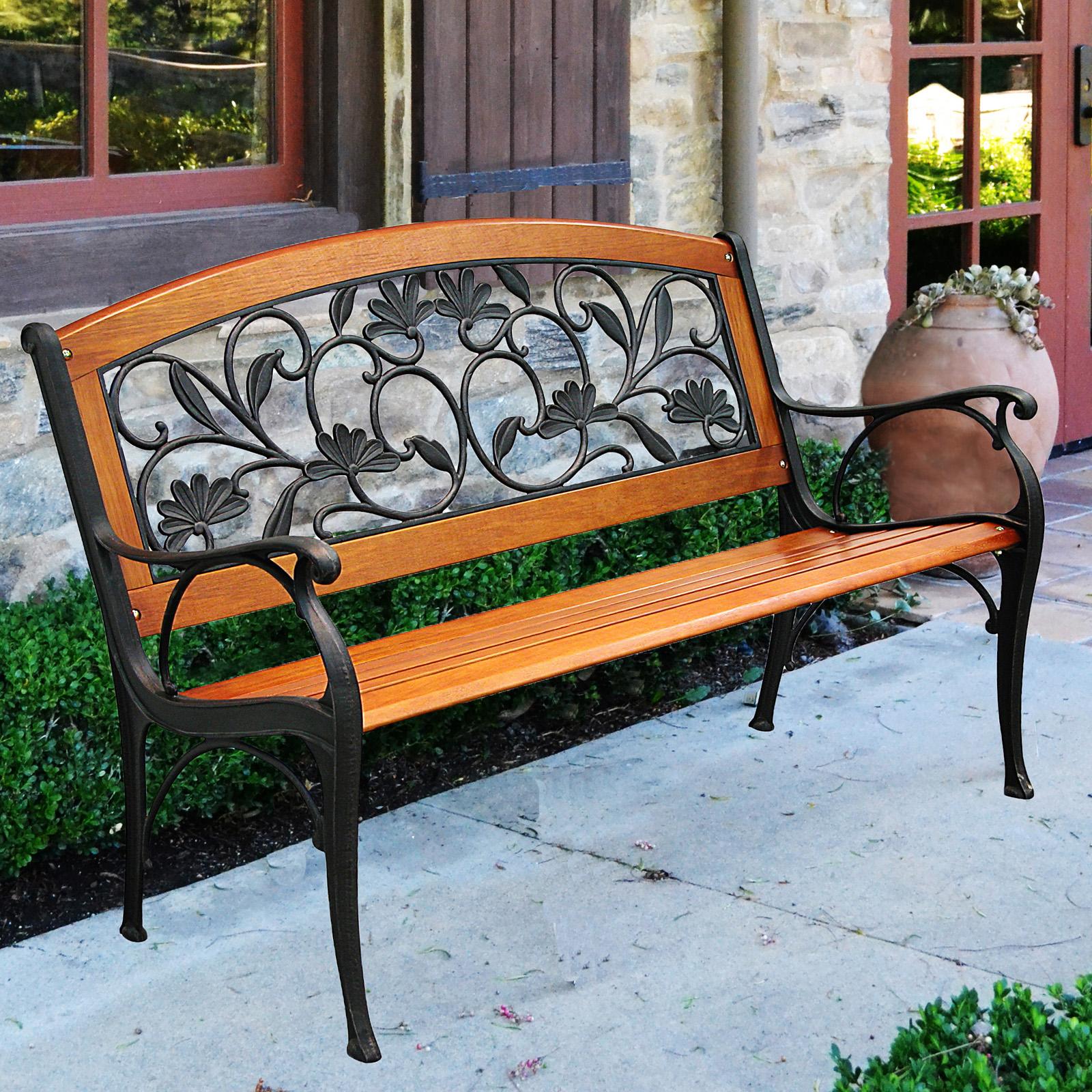 Innova C13762 Cast Iron Hardwood Garden Leaves Park Bench, Copper Rust