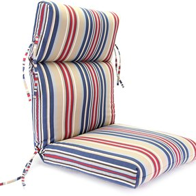 Jordan Manufacturing Jordan Manufacturing Outdura High Back 22 in. Dining Chair Cushion, Blueridge Stripe, Outdura Acrylic