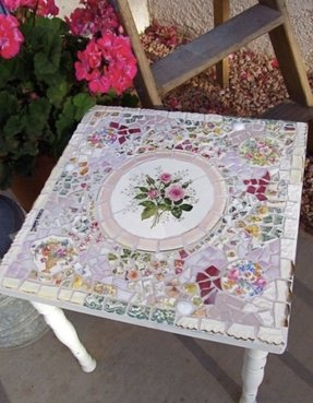 Mosaic shabby small side table with