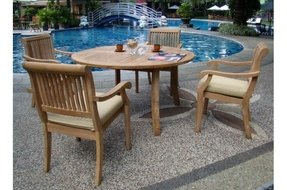 "New 5 Pc Luxurious Grade-A Teak Dining Set - 52"" Round Table and 4 Stacking Arbor Arm Chairs"