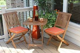 Outdoor Interiors 3 Piece Square Bistro Set, Orange Cushions Included,  Brown And Orange