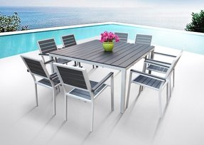 Outdoor Patio Furniture New Aluminum Resin 9 Piece Square Dining Table Chairs Set