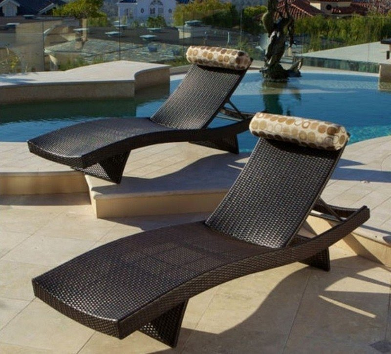 Etonnant Resin Patio Lounge Chairs 4. Portofino Signature Lounger 2 Pack All Weather  Resin Wicker With Sunbrella® Fabric Bolster