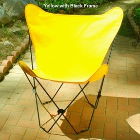 Retro Folding Butterfly Chair and Golden Yellow Cover with Black Frame