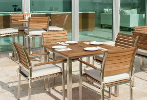 Stainless Steel And Wood Outdoor Furniture
