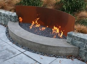 Steel outdoor fireplace