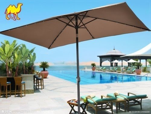 Amazing Strong Camel 10u0027x6.5u0027 OUTDOOR SOLAR 26 LED LIGHTS ALUMINIUM PATIO UMBRELLA