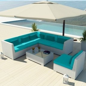 Uduka Outdoor Sectional Patio Furniture White Wicker Sofa Set Luxor Turquoise All Weather Couch