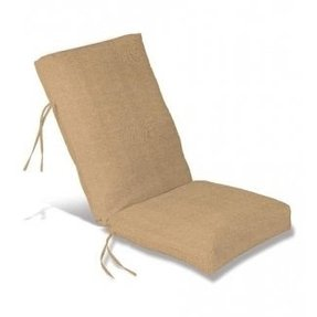 "Weather-Resistant Outdoor Classic Highback Chair Cushion with Ties, 46"" x 20""; hinged 19"" from the bottom, in Beige"