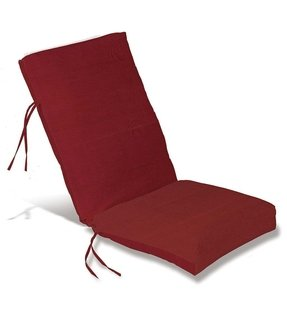 "Weather-Resistant Outdoor Classic Highback Chair Cushion with Ties, 46"" x 20""; hinged 19"" from the bottom, in Red"