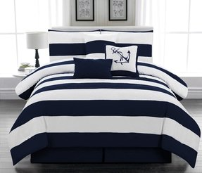 7pc. Microfiber Nautical Themed Comforter Set, Navy Blue and White Striped, Queen Size