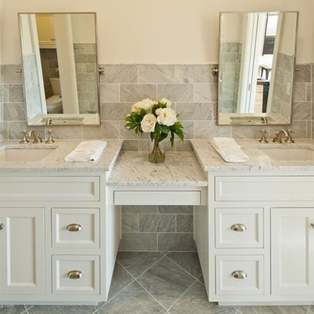Bathroom double sink vanity Free Standing Bathroom Double Sink Vanity With Small Make Up Area In Its Central Part White light Gray Cabinets Support Sand Beige Stone Tops That Seamlessly Fade Foter Traditional Double Sink Bathroom Vanity Ideas On Foter