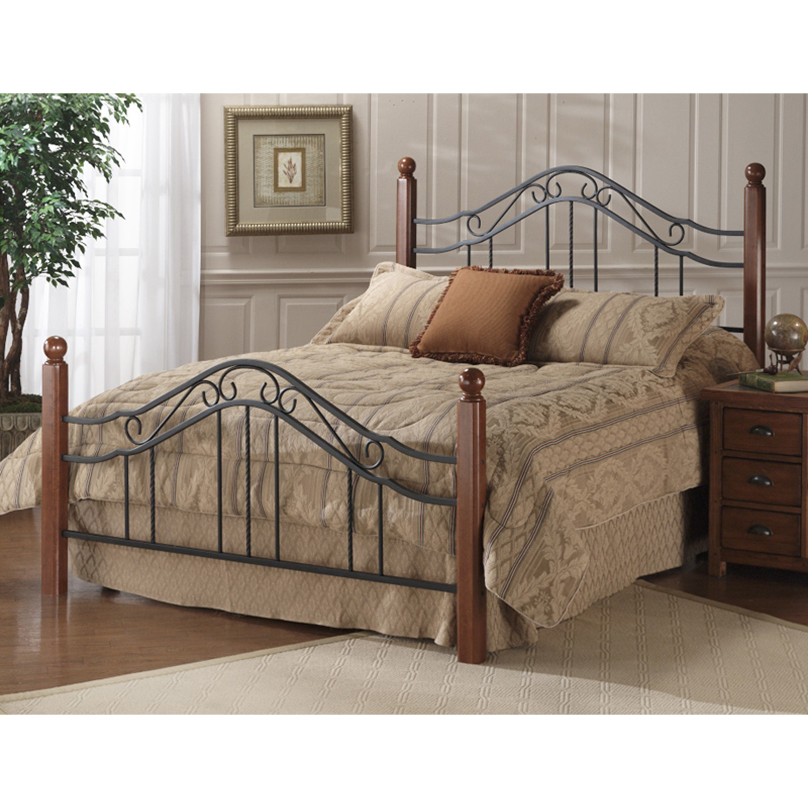 Classic Wood And Wrought Iron King Size Poster Bed Headboard Footboard And Rails