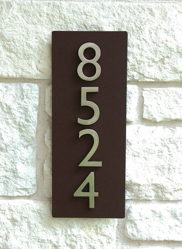 Contemporary brown metal address plaque