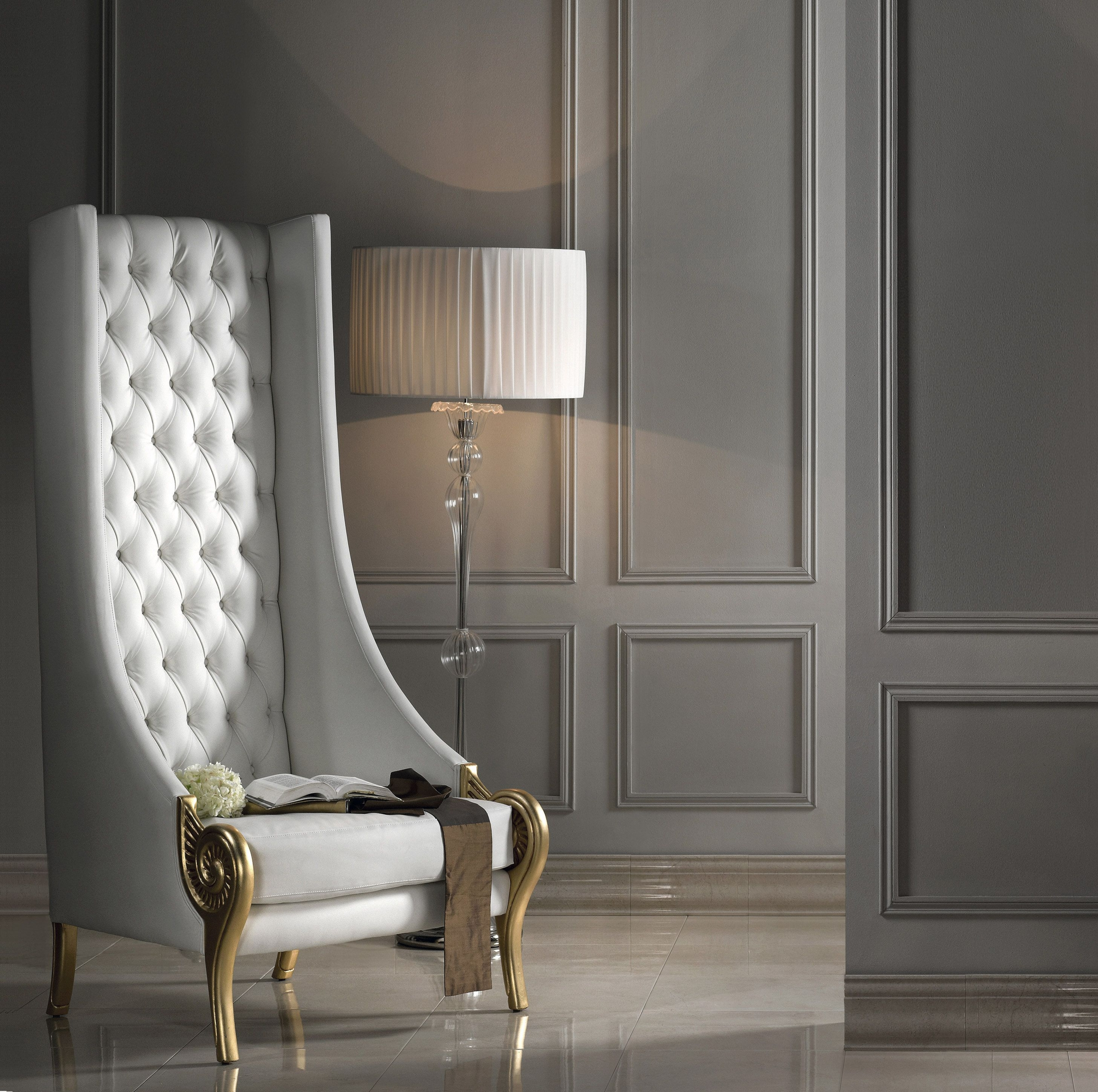 Contemporary White Leather Chairs