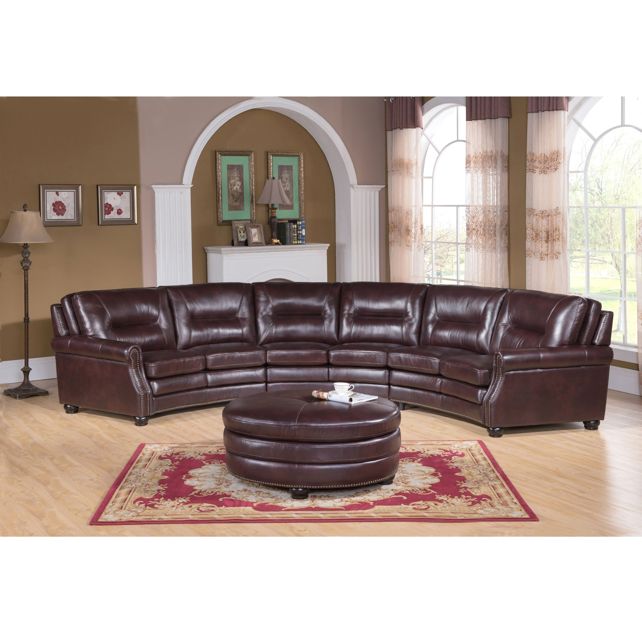 Merveilleux Curved Leather Sectional Sofa 3