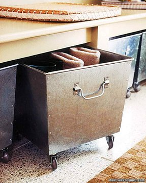Decorative metal storage bins