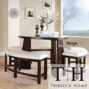 Dining Set 4-piece Contemporary Triangle Shaped Wood Table and Bench White Dinnette Set Seats 6 Modern Faux Leather Space Saver
