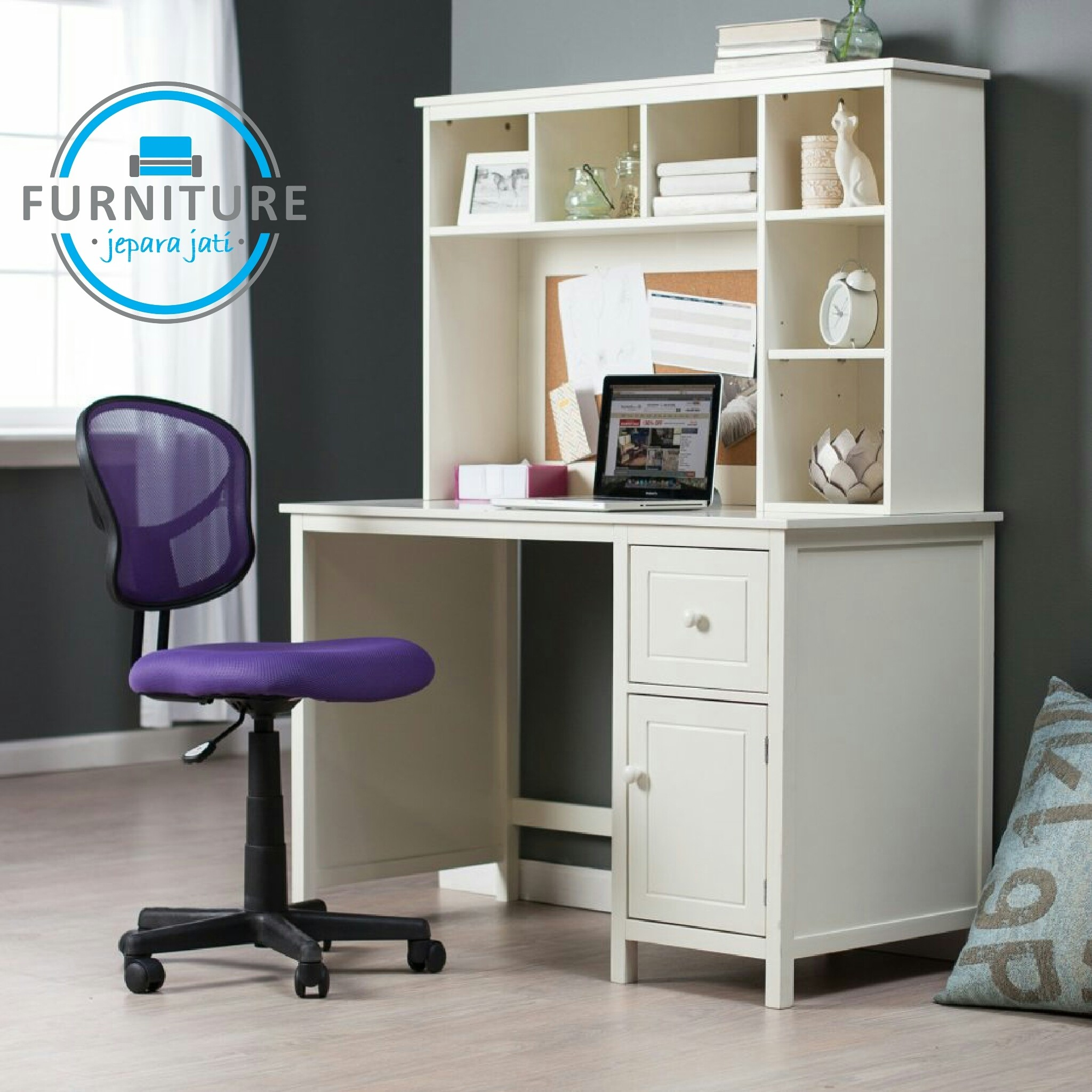 Kids White Desk With Hutch Foter