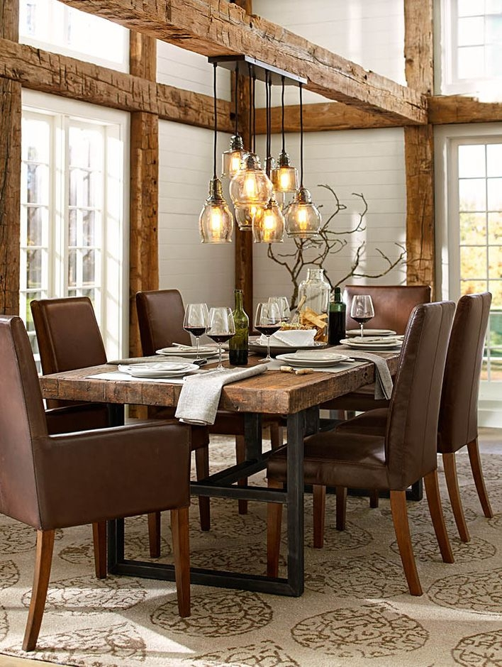 Griffin metal wood slab rectangular fixed wood dining table