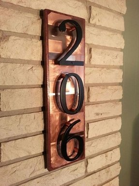 House numbers address plaque copper on