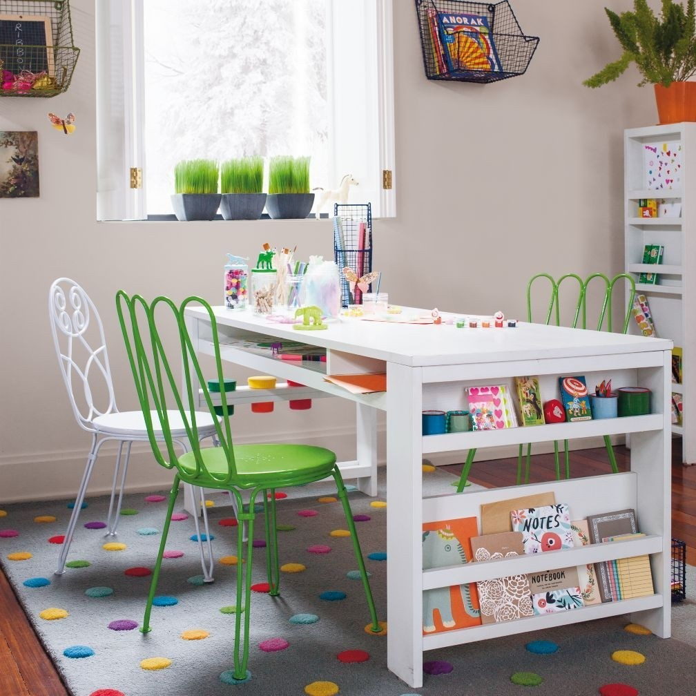 Kids art desk with storage