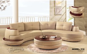 Leather curved sectional