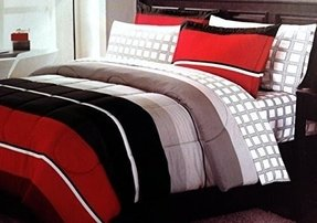 Modern Rugby Stripes Red Black Gray Twin Complete Bedding Set (6 Piece Bed in a Bag)
