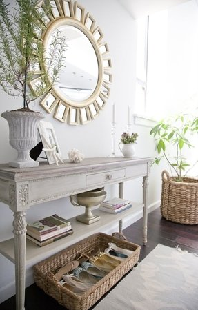 Narrow console table with drawers