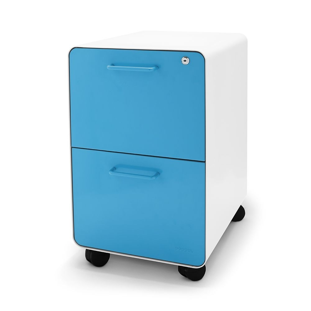 Poppin Rolling East 18th 2 Drawer File Cabinet, Pool Blue