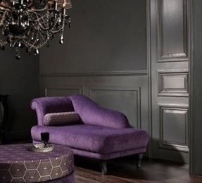Purple velvet chaise