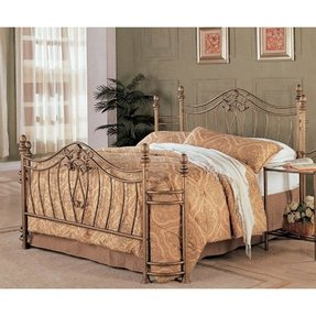 Queen Bed Wrought Iron Headboard Footboard Master Bedroom Frame Antique