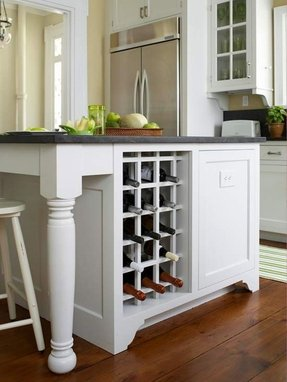 Kitchen Island With Wine Rack Refrigerator For Bar Area