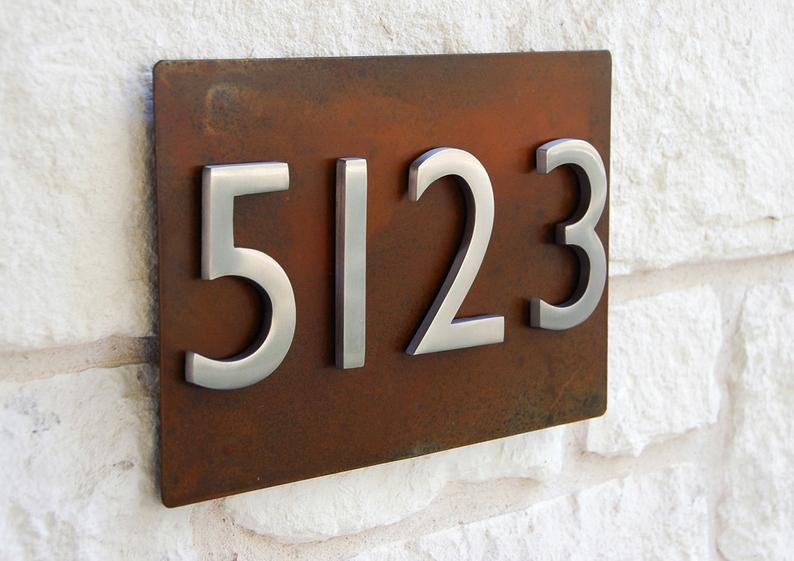 Rustic modern metal address plaque with